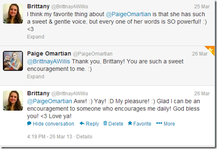 March 25, 2013 - Paige Omartian tweeted me